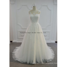 Hot Sale A Line Tulle Wedding Dress with Keyhole Back