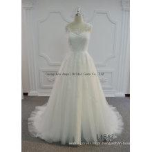 Venda quente uma linha de vestido de noiva de tule com fechadura de volta