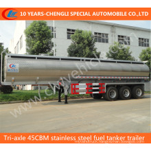 Tri-Axle 45cbm Stainless Steel Fuel Tanker Trailer