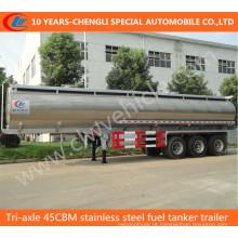 Reboque do petroleiro do combustível do aço inoxidável do Tri eixo 45cbm