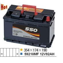 59218MF 12v 92ah rechargeable battery for car