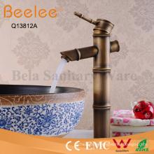 Antiker Kupfer-Bambus-Form-einzelner Griff-hoher Körper-Badezimmer-Behälter-Hahn