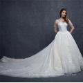 Vestido de novia por encargo del bordado del satén de la manga de la manga de China 2018 con la cola larga