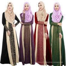 Mode 2017 femmes doux pas cher coton à manches longues maxi Abaya musulman dubai déguisements abaya