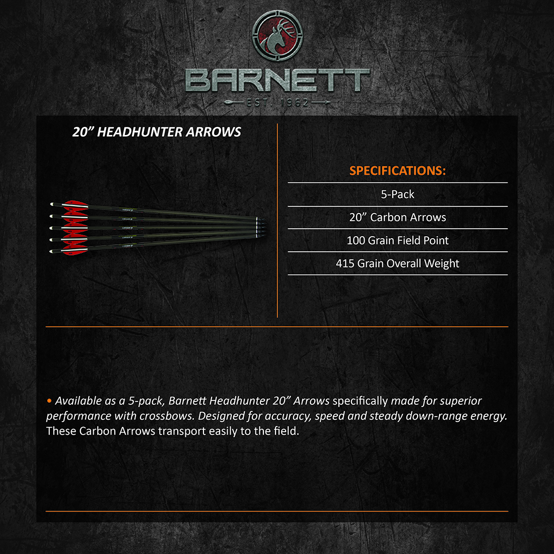 Barnett_Headhunter_Carbon_Arrows(20inch)_Product_Description