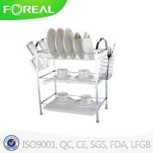 Porte-vaisselle multi-fonctions à trois niveaux avec support d'ustensile