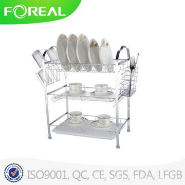 Multi-Function Three-Tier Dish Rack with Utensil Holder