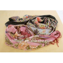 women printed cashmere scarf wrap stole/ printed wool scarf