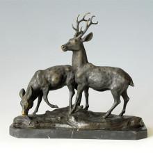 Tier-Statue Doppel-Hirsche Bronze-Skulptur, Milo Tpal-086