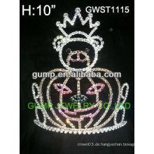 Großer billiger Feiertagskürbiskönigin-Festzug kundenspezifische Rhinestone-Krone-Tiara -GWST1115