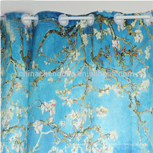 Anillos de cortina de plástico cortina de ducha de tela impresa