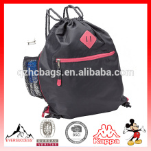 Nylon Drawstring Bags Sport Gym Bag with Bottle Holder