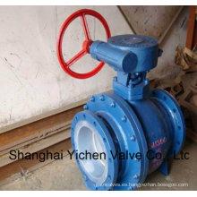 Válvula de bola con revestimiento de flúor y tornillo sinfín (Q341F46)