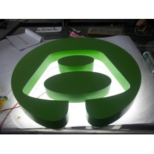 Customized Company Logo Frame Stainless Steel Paint Green Back Lit LED Letter Signs