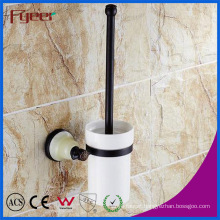 Fyeer Ceramic Base Black Bathroom Accessory Brass Toilet Brush Holder