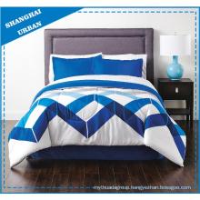 Ocean Blue Zig-Zag Polycotton Printed Quilt Cover Set