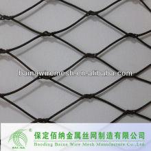 Rede de rede de arame de aço inoxidável tecida à mão com malha de corda ondulada e amarrada
