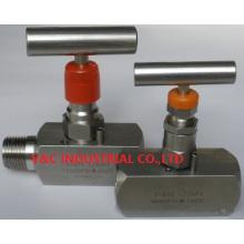 Válvula de agulha de aço inoxidável com rosca externa