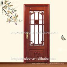Porta de madeira de design de vidro, porta de madeira vintage, porta de interior