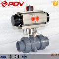 valve à tournant sphérique en plastique pneumatique de PVC