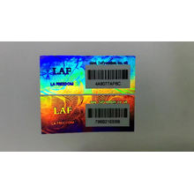 3d tamper proof security label PET material hologram stickers with barcode