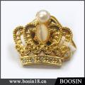 Металлический сплав блестящие 18k золото покрытием старинные Корона брошь #5955
