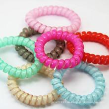 Elastische Spirale Telefon Draht Candy Farbe wasserdicht Kunststoff Haarbänder (JE1588)