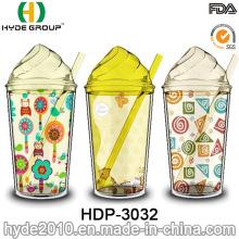 Tasse de crème glacée libre de BPA en gros, gobelet de jus en plastique de double mur avec la paille (HDP-3032)