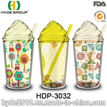 Wholesale BPA Free Ice Cream Mug, Double Wall Plastic Juice Tumbler with Straw (HDP-3032)