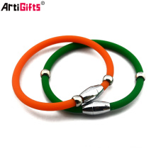 factory supply cheap stainless steel silicone bracelet with metal clasp