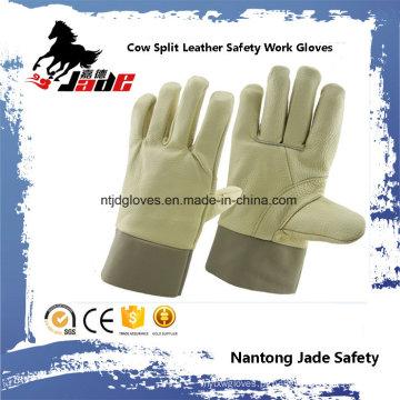 Luva de trabalho de segurança industrial de pele de couro de vaca