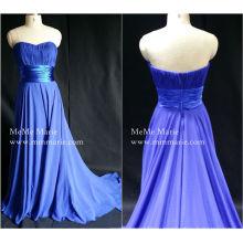 [В наличии] Королевский синий без бретелек Империи талии вечернее платье с лентой Группа бай-14050