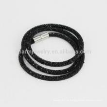 Luxo 3 camada Wrap malha dupla cristal stardust bracelete pulseiras charme para as mulheres magnético fecho pulseira jóias