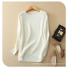 Suéter de jersey de cachemira pura de punto de color sólido con cuello alto de manga larga para mujer