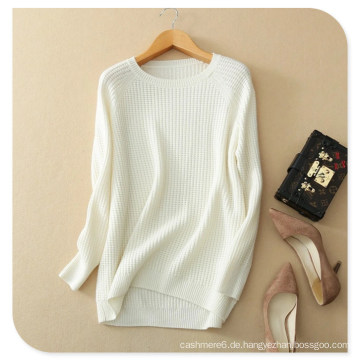 Strickwaren der Frauen-reiner Kaschmir-Pullover-Pullover-Normallack mit langem Hülsen-O-Ansatz