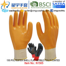 13G Полиэфирные оболочки Нитриловые полностью покрытые перчатки (N1505) Гладкая отделка с CE, En388, En420, рабочие перчатки
