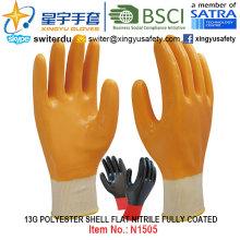 13G Polyester Shell Nitril Vollbeschichtete Handschuhe (N1505) Glatte Oberfläche mit CE, En388, En420, Arbeitshandschuhe