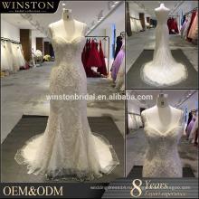 Новый продукт прибытия оптовая красивая мода жемчужно-белый свадебное платье