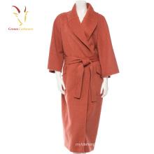 Long manteau de laine de cachemire de mode des femmes occasionnelles avec la ceinture