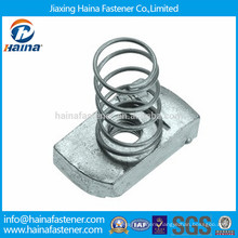 Galvanised steel clamping channel nut with regular spring