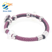 Charm colorful metal cuff PU leather rope hand bracelet