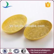Atacado decoração home amarelo sobremesa cerâmica prato de frutas