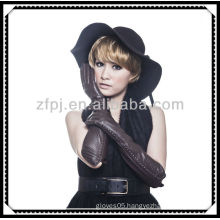 fashion styel leather long arm silk lined lady's glove