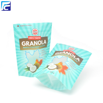 Resealable ziplock food packaging bag for granola