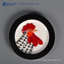 Rooster Design Restaurant Used Crockery Tableware, Fine Ceramic Plate With Decal