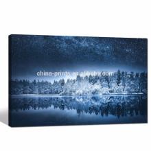Winter Landscape Painting Impressão giclée / estrelado Night Canvas Wall Art para Sala de estar / Forest Impressão em Canvas Home Decor