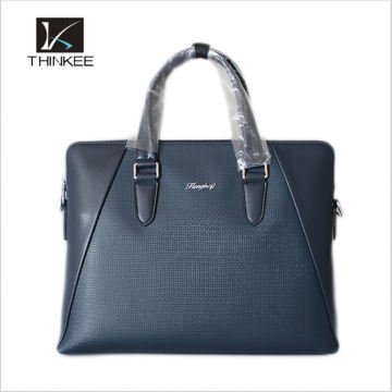 Fashion Woven Pattern High Quality Genuine Leather Men Black Handbags