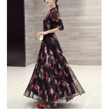 Señoras primavera gasa impreso cuello alto vestido dulce vestido