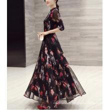 Printemps dames en mousseline de soie imprimé col montant longue robe douce