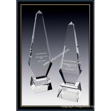 Large Crystal Obelisk Award Paramount Tower 12 Inch Tall